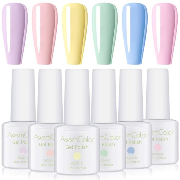 Gel Nail Polish Set, Pastel Color UV LED Gel Kit