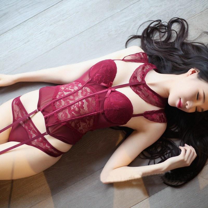 3Pcs/set Push Up Halter Sexy Lace Bra+Panties - Bralette Underwear