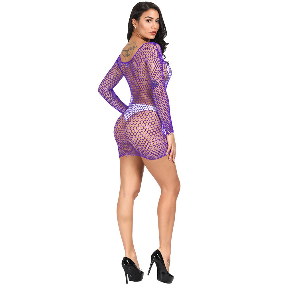Sexy Women Bodystocking Dress - Nightwear Long Sleeve Mesh
