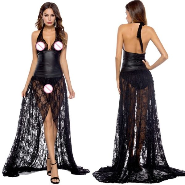 Porn Lingerie - Erotic Latex Backless Pole Dance Dress