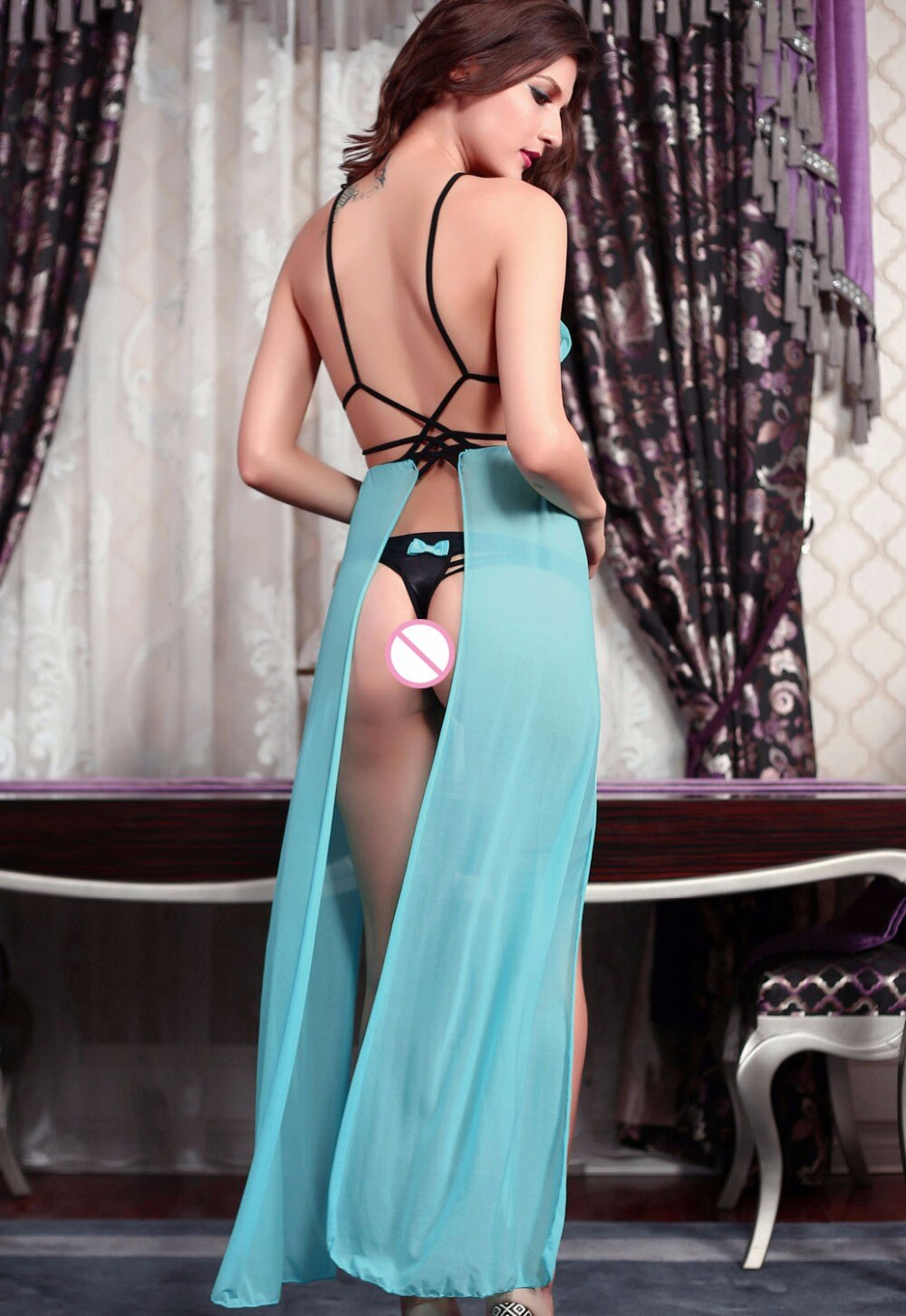 Fashion Strappy Dessous - Sexy Long Nightgown Transparent Dress