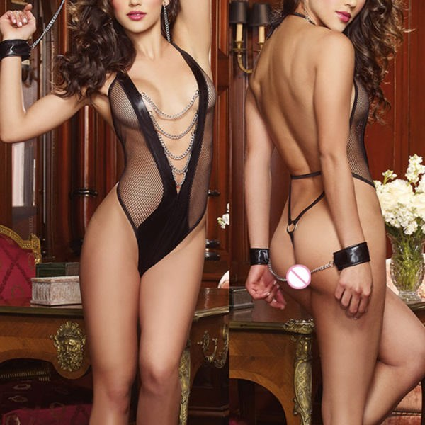 Women's Lace Black Babydoll Sleepwear G-string and Handcuffs