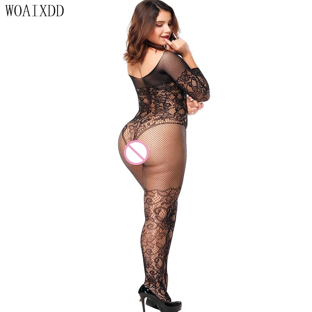 Hot Bodystocking - Sheer Nylon Teddiy Bodysuit - Plus Size