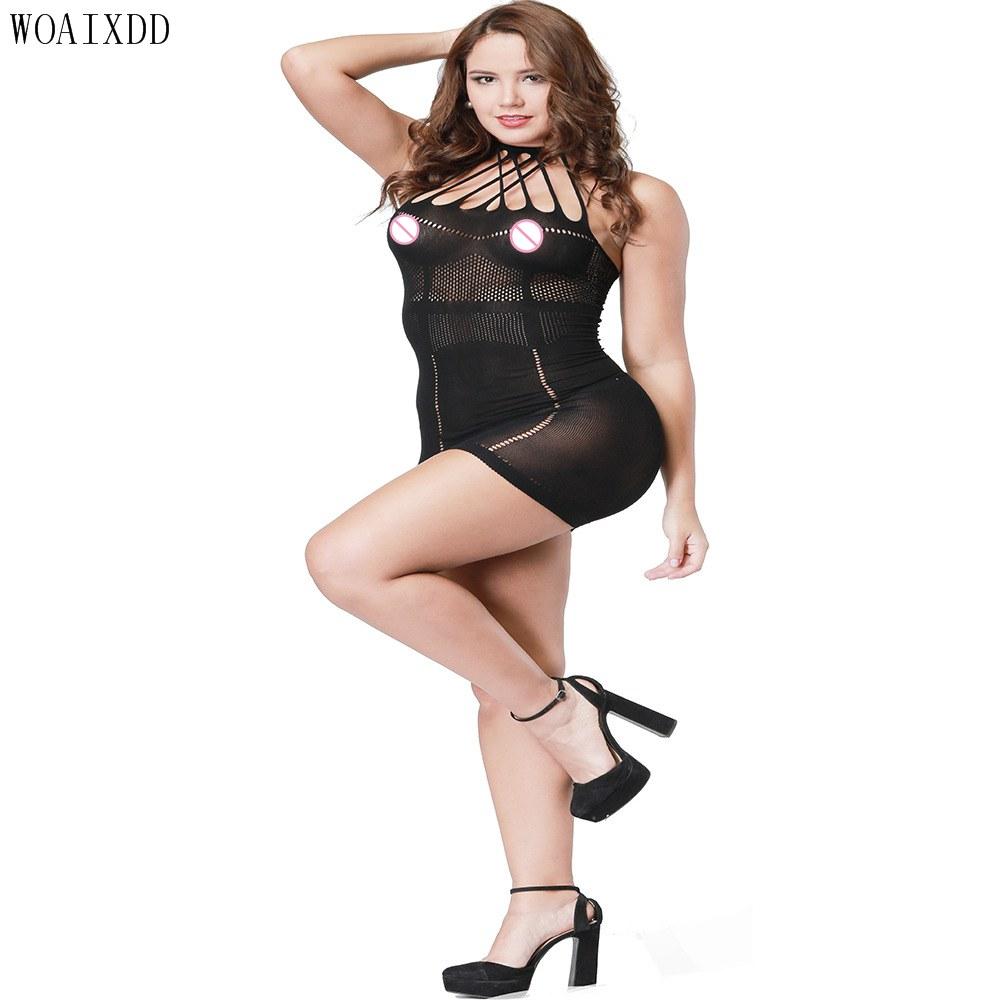 Plus Size Hot Fishnet Open Crotch Exotic Underwear - Babydoll