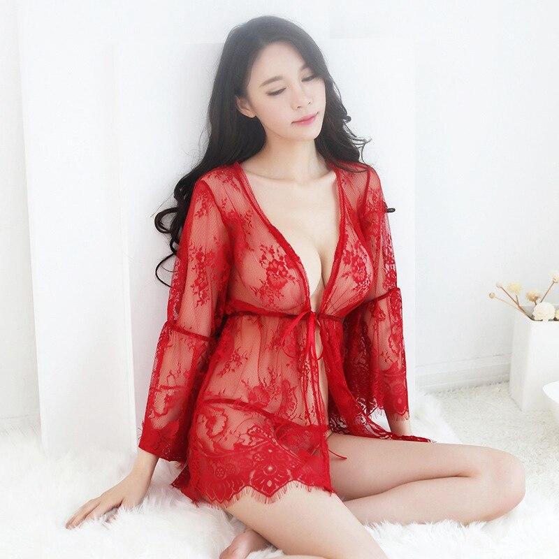 Sexy Lace Robes with Bra Set - Bath Robe Kimono - Sleepwear