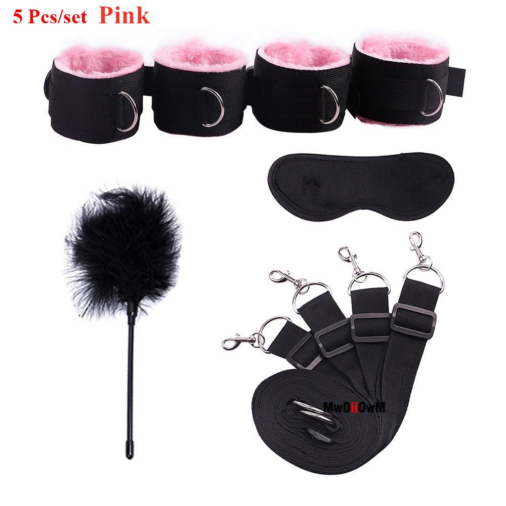 Bondage Accessories Set - Erotic Handcuffs, Ankle Cuffs & Eye Mask