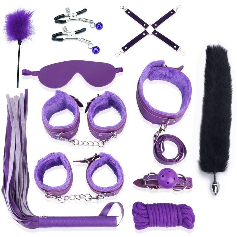 12 Pcs/Set Fetish Restraints Sex Bondage Set - Ankle, Handcuffs, Wand Vibrator